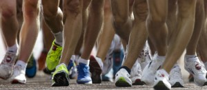Athletes compete in the 20-kilometer race walk at the 2012 Summer Olympics, Saturday, Aug. 4, 2012, in London. (AP Photo/Markus Schreiber)